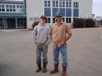 "My son AJ and friend Jared working at Cal Poly Dairy! ""Learn by Doing"" motto in Jeopardy!"
